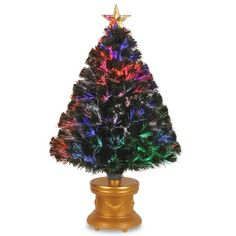 """National Tree 36-Inch Fiber Optic """"Evergreen"""" Firework Tree with Top Star and Gold Revolving LED Base - http://www.christmasshack.com/christmas-trees/fiber-optic-christmas-trees/national-tree-36-inch-fiber-optic-evergreen-firework-tree-with-top-star-and-gold-revolving-led-base/"""