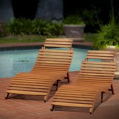 Lahaina Outdoor Acacia Wood Chaise Lounge by Christopher Knight Home (Set of 2) | Overstock.com Shopping - The Best Deals on Chaise Lounges