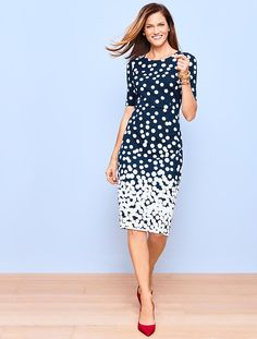 Bold dots beautifully cascade down the front and back of this body-skimming sheath. The classic silhouette has an ultra-flattering fit thanks to the curve-enhancing structure and slenderizing waist seam. Made from our comfortable and resilient ponte, this sophisticated dress has the perfect amount of stretch - so it moves when you do without losing shape.
