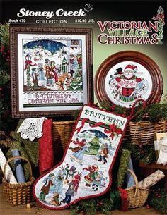 Stoney Creek Collection Victorian Village Christmas - Cross Stitch Pattern. The Carolers was stitched on 28 Ct. Clear Sky Stoney Creek hand-dyed fabric with DMC