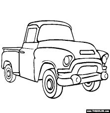 Two cartoon vintage pick-up truck outline drawings, one