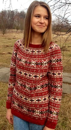 Fair Isle sweater Red sweater Iceland sweater Womens от adaLV