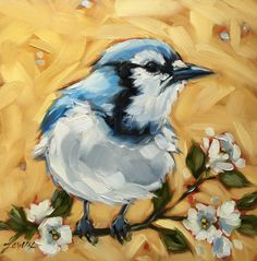 "Blue Jay bird painting, Original oil painting of a Blue Jay on a Floral branch,  6x6"" oil on panel Lavery  ART"