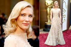 Best Dressed: This Armani Prive gown may seem inspired by Britney Spears' nude sparkly outfit in the Toxic video, but we loved it on Cate Blanchett. #OSCARs