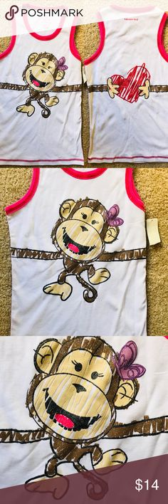 LA SENZA GIRL Cute NWT Monkey Print TANK TOP M This item is an adorable, new-with-tags, monkey print tank top by LA SENZA GIRL size medium. Fabric  is 100% cotton. Item pulls on over the head. Color is white with red top-stitching and adorable print which continues on to the back.  Unstretched measurements are approximately 28  inches at chest, 22 inches long. La Senza Girl Shirts & Tops Tank Tops
