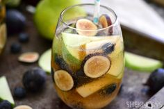 Fall Sangria with Bourbon - Hard Cider, Jim Beam Honey or Maple Whiskey, Apples, Pears, Figs, Blueberries, Ginger Ale, Apple Juice, Lemon Juice