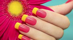 Bright french manicure, Bright pink nails, Bright summer nails, Long nails, Manicure by summer dress, Nails ideas 2016, Raspberry nails, Shellac nails 2016