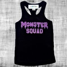 MONSTER SQUAD Sparkly DIY Iron On Halloween Sparkle Glitter Decal in your choice of Color - Baby, Girls or Womens Bodysuit tee or tank size