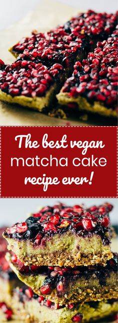 Matcha in everything! And pomegranates are so special and beautiful! A super tasty vegan matcha cake recipe topped with pomegranates and blueberries. Oil free and sweetened with dates! Vegan | Plant Based | Gluten Free. - SproutingZen.com