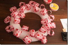 DIY ribbon wreath-oh the possibilities