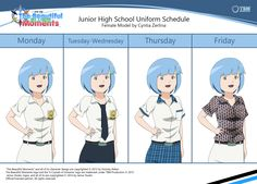 This is Cyntia and her friend's uniform schedule when they're go to school.