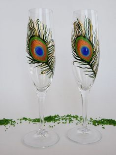 Hand painted Wedding Toasting Flutes Set of 2 by pastinshs on Etsy, $39.00