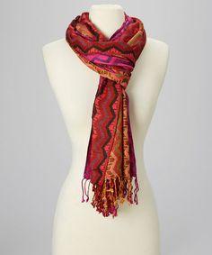 Look at this #zulilyfind! Fuchsia Zigzag Cashmere-Silk Blend Scarf #zulilyfinds