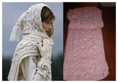 Free Shipping Hand Knit WOOL Pink HOODED Scarf , Chunky cable Wool infinity Hood scarf for Women Girl Men / Handmade Gifts under 50 USD by Akikaira's shop