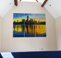 The design of this glass wall art triptych from Bitteswell, Lutterworth was provided by the customer, who supplied an image that they wanted to have translated into the medium of fused glass art. It depicts a New York skyline, with every detail recreated with powder. Although it may look like it, there's nothing digital about this and nothing has been printed on – it's all been made by hand!
