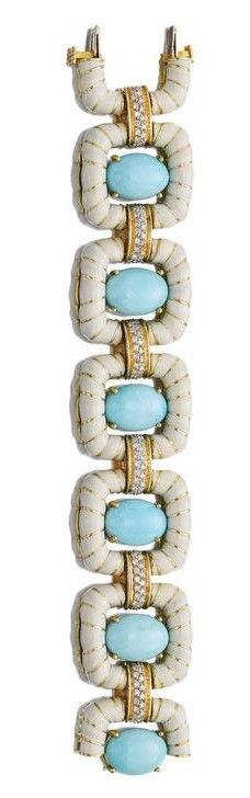 David Webb - Turquoise, Diamond, White Enamel and 18K Gold Bracelet