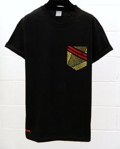 Men's African Print Pattern Black Pocket TShirt by HeartLabelTees, £9.95