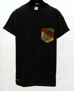 Men's African Print Pattern Black Pocket TShirt by HeartLabelTees, £9.95