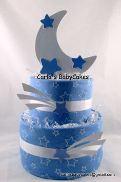 Moon and Stars Diaper CakeBoy Baby Shower by MsCarlasBabyCakes, $42.00