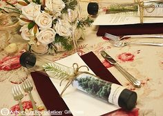 Table settings are gorgeous when Gift Trees are part of the theme.