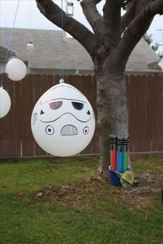 Star Wars Party Ideas Storm Trooper Balloons Pool Noodle Light Sabers