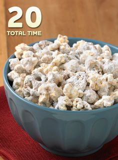 Peanut Butter Popcorn Munch… Take this simple and tasty dessert on the road to a picnic. The kids will love this popcorn finger food, and it only takes 20 minutes to make!