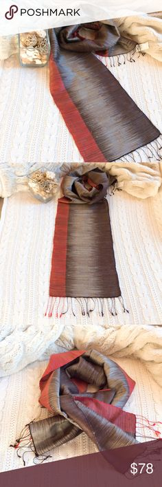 100% Hand woven Thai Silk Scarf 100% Thai Silk Scarf, Wrap, Shawl, Heavy weight, Brown White Red color with black tassels. High quality, thick & heavy weight, hand woven Thai silk. Also can use with table runner (table of 4 chairs)  Size 71 * 11.5 inches (approximately)  Brand new with tag.   Hand woven, hand crafted by textile artist. This used organic dye from banana tree and coconut tree bark. The fabric may look irregular as this is hand woven product. Product of Thailand, origin of…