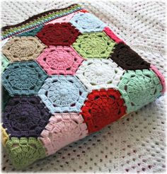 The Circus Patchwork Blanket. Beautiful hexagons, lovely edging on this blanket by Coco Rose.
