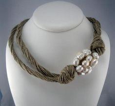 Collar lino natural cluster perlas naturales trenzado Collar De Borla b46a46e6b63