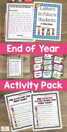 "End of Year Activities for 3rd, 4th, or 5th grade - Use this 38 page pack in your upper elementary classroom to celebrate the #EndOfYear. These printables are fun, engaging, and keep students motivated on those last days. You get autograph pages, favorite books list, ""My Favorite"" lists, My Year in ABCs, 20 countdown activity cards, now and then (beginning and end of year comparison), plus more! Click through to see it all! #ThirdGrade #FourthGrade #FifthGrade #EndOfYear #EndOfTheYear Dear Students, End Of Year Activities, 5th Grade Classroom, Fifth Grade, Abcs, Upper Elementary, Bulletin Board, Printables, Teaching"
