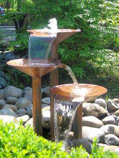 Cool fountain - looks like three bird baths of varying heights.