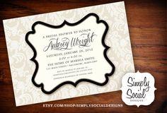 Lace Chic Creme and Black Bridal Shower Invitation.