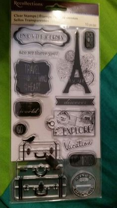 Recollections clear stamps. Travel themed, explore, french, eiffel tower, suitcases.