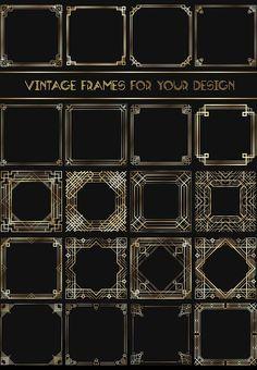 Art Deco Frames by Olga Ryzychenko on Art Deco Font, Art Deco Era, Art Deco Design, Art Deco Borders, Sculpture Lessons, Dark Grey Background, Art Deco Pattern, Vintage Labels, Game Design