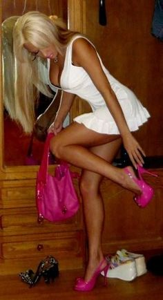 Gorgeous tanned legs in sexy white dress & hot pink heels!!