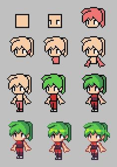 Here's a step by step on doing a basic low res character. It's generally a good idea to start with characters of this size before moving on to larger sprites. In pixel art, you need to … Sprites, Anime Pixel Art, Art Anime, Game Design, Pixel Art Minecraft, Minecraft Crafts, Minecraft Skins, Minecraft Buildings, How To Pixel Art