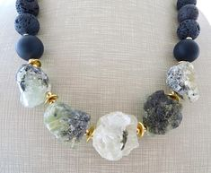 Rock prehnite necklace onyx and lava necklace green and