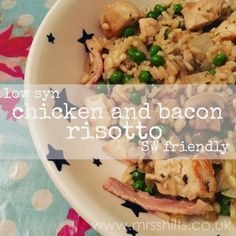A low syn Slimming World friendly recipe for chicken bacon risotto with onions, mushrooms and peas. Perfect for cold autumnal evenings. Chicken Risotto, Risotto Recipes, Slimming World Dinners, Slimming World Recipes Syn Free, Slimming World Chicken Recipes, Grilled Chicken Salad, Chicken Bacon, Cold Chicken Recipes, Amigurumi