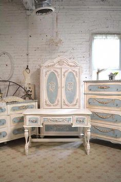 Painted Cottage Chic Shabby Romantic French by paintedcottages Shabby Chic Furniture, Shabby Chic Bedrooms, Distressed Furniture, Vintage Furniture, French Furniture, Cozy Bedroom, Bedroom Decor, Paint Furniture, Furniture Makeover