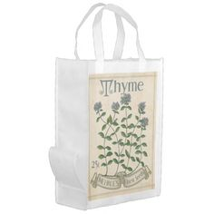 Shop Vintage Herb Seed Packet, Thyme, grocery bag created by eurekaretro. Herb Seeds, Reusable Grocery Bags, Seed Packets, Save The Planet, Folded Up, Farmers Market, Vintage Shops, Walls, Herbs