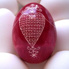 Erzulie's veve on a red egg  - Ukrainian Pysanky (Voodou symbol for the Goddess of Love)
