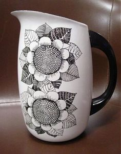 Mid Century Modern Finel Finland Enameled Sunflower Pitcher Jug White Black | eBay