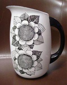 Mid Century Modern Finel Finland Enameled Sunflower Pitcher Jug White Black | eBay