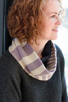 Churchmouse Yarns & Teas - Accelerating Stripes Cowl - Rowan Finest Version