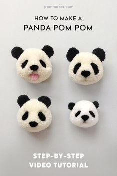 Crafts to make and sell - panda pom pom - 75 more easy diy ideas for Diy Craft Projects, Diy And Crafts Sewing, Crafts To Make And Sell, Craft Tutorials, Project Ideas, Sewing Projects, How To Make Money, Pom Pom Crafts, Yarn Crafts