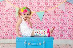 SET Pink Polka Dot Headband Legwarmer set by AverysKnitAndStitch