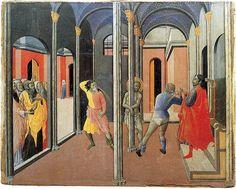 Maestro dell'Osservanza (Sano di Pietro?) - Flagellazione di Cristo - circa 1440-1444  - tempera e oro su tavola - Città del  Vaticano, Musei Vaticani