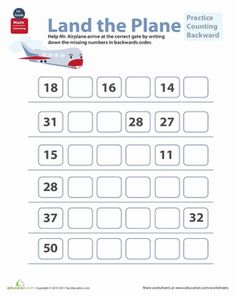 First Grade Math Worksheets: Count Down: Practice Counting Backward First Grade Math Worksheets, Number Worksheets, School Worksheets, 1st Grade Math, Kindergarten Worksheets, Worksheets For Kids, Kindergarten Counting, Counting Worksheet, Shapes Worksheets