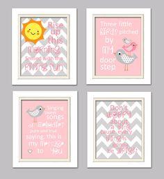 Quad infantiles rosa y gris vivero vivero de aves por ChicWallArt