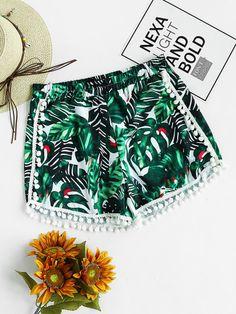 2017 New Women Summer Women Sexy Hot Pants Print Casual Shorts Mid Waist Short Pants Brand New High Quality Jun 6 Tiny Shorts, Boho Shorts, Casual Shorts, Purple Shorts, Fashion Pants, Fashion Outfits, Womens Fashion, Pom Pom Shorts, Bohemian Summer
